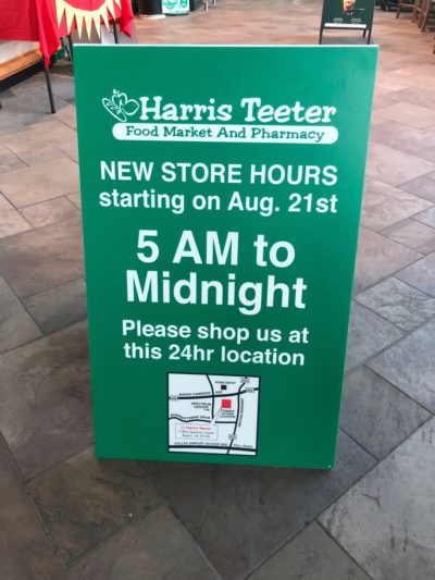 New Store hours for Harris Teeter